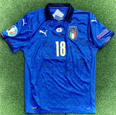 ITALIA FIGC MAGLIA BARELLA AUTOGRAFATA GIOCATORI WEMBLEY 2021